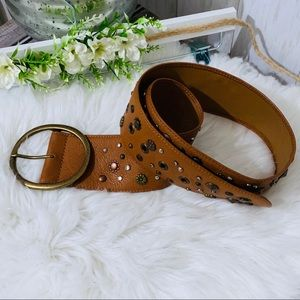 Fossil Embossed Leather Studded Belt Small